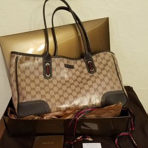 Gucci Princy Crystal Brown Leather Tote